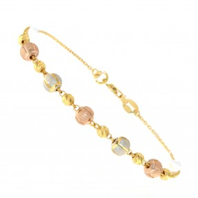 22ct Real Gold Asian/Indian/Pakistani Style Three Colour Bead Bracelet