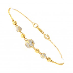 22ct Real Gold Asian/Indian/Pakistani Style Two  Colour Bead Bracelet