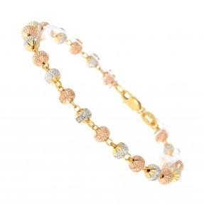 22ct Indian/Asian Gold Three Colour Bead Bracelet