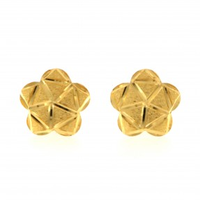 22ct Real Gold Asian/Indian/Pakistani Style Flower Stud Earrings
