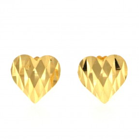 22ct Real Gold Asian/Indian/Pakistani Style Heart Stud Earrings