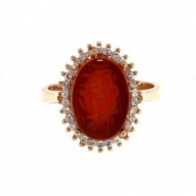 925 Sterling Silver Rose Gold Plated Unique Alaisallah Ring with Carnelian
