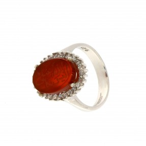 925 Sterling Silver Unique Alaisallah Ring with Carnelian