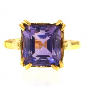 22ct Real Gold Asian/Indian/Pakistani Style Ring with 6.1ct Real Amethyst Stone