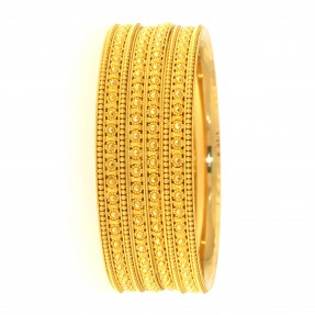 22ct Real Gold Asian/Indian/Pakistani Style Filigree 2 Bangles & 2 Karas Set