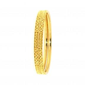 22ct Real Gold Asian/Indian/Pakistani Style Filigree Bangles (Pair)