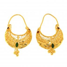 Indian/Asian Red and Green Meena Hoop Earrings (Pre-Owned)