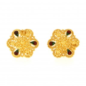 Indian/Asian Red and Green Meena Filigree Flower Stud Earrings (Pre-Owned)