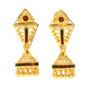 Indian Red and Green Meena Jhumkay Earrings (Pre-owned)