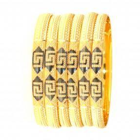 22ct Real Gold Asian/Indian/Pakistani Style 6 Bangles Set
