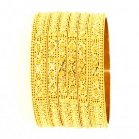 22ct Real Gold Asian/Indian/Pakistani Style 4 Bangles & 2 Karas Set