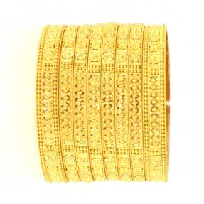 22ct Real Gold Asian/Indian/Pakistani Style 6 Bangles & 2 Karas Set