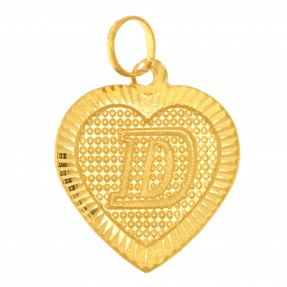 22ct Real Gold Asian/Indian/Pakistani Style Heart 'D' Pendant