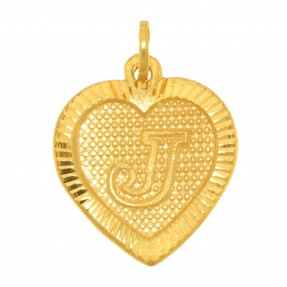 22ct Real Gold Asian/Indian/Pakistani Style Heart 'J' Pendant