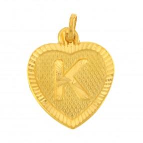 22ct Real Gold Asian/Indian/Pakistani Style Heart 'K' Pendant