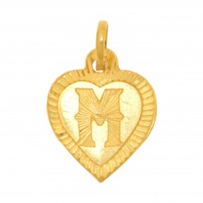 22ct Real Gold Asian/Indian/Pakistani Style Heart 'M' Pendant