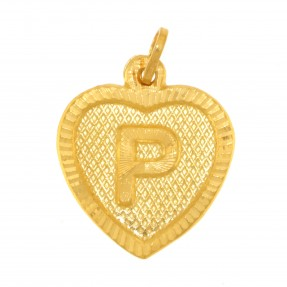22ct Real Gold Asian/Indian/Pakistani Style Heart 'P' Pendant