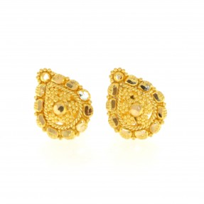 22ct Real Gold Asian/Indian/Pakistani Style Drop Stud Earrings