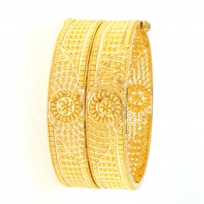 22ct Real Gold Asian/Indian/Pakistani Style Filigree Gold Bangles/Karas Openable (Pair)