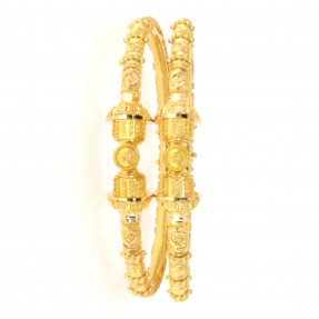 22ct Real Gold Asian/Indian/Pakistani Style Filigree Pipe Karas/Bangles Openable (Pair)