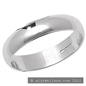 PLATINUM D SHAPE WEDDING RING 4MM