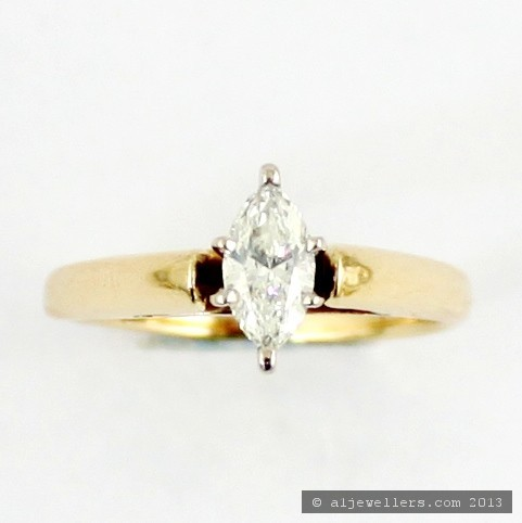 14ct Marquise Cut Diamond Engagement Ring